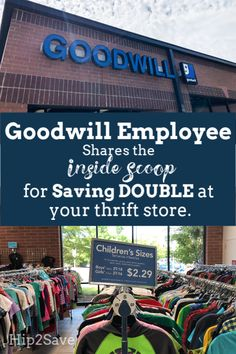 Save big at Goodwill with these tips! Ex-Goodwill Employee Shares How to Save DOUBLE at Your Thrift Stores Thrift Store Outfits, Thrift Shop Finds, Thrift Store Shopping, Goodwill Finds, Thrift Store Furniture, Goodwill Thrift Store, Thrift Store Crafts, Shopping Hacks, Thrift Shop Outfit