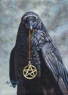Crows Ravens: Raven with pentacle Wiccan, Magick, Witchcraft, Rabe Tattoo, Pagan Art, Crows Ravens, Animal Totems, Kraken, Book Of Shadows