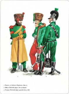 Napoleon's German Allies. Nassau and Oldenburg_ 1-Pioneer 1st Infantry Regiment 1809-13 2-Officier Reitende Jager 1810 (in spain) 3-Trooper, Reisende Jager parade dress 1806