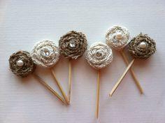 Burlap Flower Cake or Cupcake Toppers