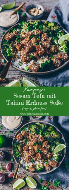 Crispy sesame tofu with tahini peanut sauce (vegan, gluten .- Crispy sesame tofu with tahini peanut sauce, rice and broccoli Tofu Recipes, Asian Recipes, Vegetarian Recipes, Healthy Recipes, Ethnic Recipes, Peanut Recipes, Recipes Dinner, Sesame Tofu, Homemade Tahini
