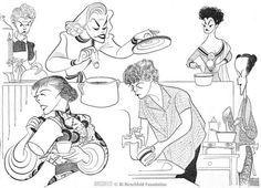 Al Hirschfeld ~ WHAT'S COOKIN' ON BROADWAY!, with Elaine Stritch, Shelley Winters, Gusti Huber, Hildegarde Neff, Margaret Sullivan, and Judy Tyler.