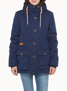 Ragwear at Twik   A soft high-neck coat with a supple peachskin-textured hood   Thin shiny lining in a pretty bird print   Full-length zip hidden under a buttoned placket   Recessed ribbed cuffs   Buttoned slant flap pockets    The model is wearing size small
