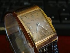 Vintage 1940's Bulova Men's Watch 14K Rose Gold 17Jewels Tanke Cal 8AE #Bulova #Dress