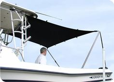 """T-Top Boat Shade Kit  """"World's Finest Marine Shade""""  An economical and versatile way to add shade to the rear of your center console or walk around boat. Our light weight material, """"Resilience"""" has exceptional elasticity and protects against harmful UV rays while reflecting up to 75% of UV heat. Installs within minutes. Kit includes necessary poles and stores easily in it's own bag. Available in 3 sizes.  #saltwaterboating #TTopBoat"""