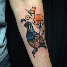 """""""Quail man. Thank you, Steven. #tattoo #tattoos #tatzdude #birdtattoo…"""
