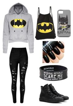 """Batman"" by martinolivia on Polyvore featuring Converse, women's clothing, women, female, woman, misses and juniors"