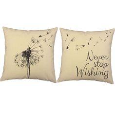 Never Stop Wishing Dandelion Throw Pillows