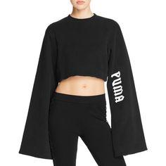 Fenty Puma x Rihanna Kimono Sleeve Sweatshirt (€115) ❤ liked on Polyvore featuring tops, hoodies, sweatshirts, black, oversized tops, puma sweatshirt, kimono sleeve top, crop top and kimono sleeve crop top