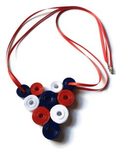 Red White Blue Necklace -  #Paper #Craft #Nautical #Patriotic #4thJuly #america #RedWhiteBlue by PurpleSmoothie, $25.00 ----- www.purplesmoothie.etsy.com