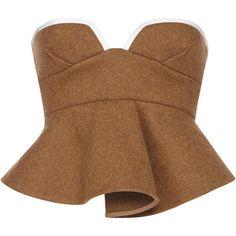 Marni Moss Bustier Top, brown peplum top and strapless bustier top. Strapless Crop Top, Bustier Top, Corset Tops, Corset Belt, Peplum Shirts, Peplum Tops, Crop Shirt, Fashion Details, Fashion Design