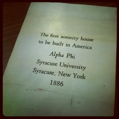 Alpha Phi Syracuse University  The First Sorority House to be Built in America-1886