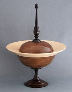 Saturn Design Wooden Bowl with Lid out of Walnut and Curly Maple 461