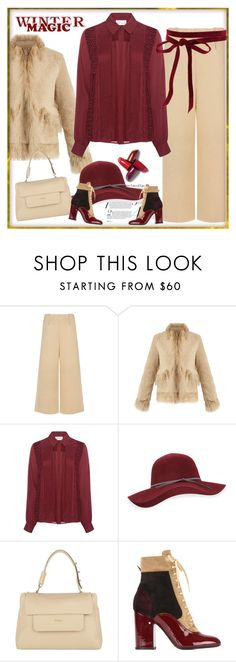 """button down blouse"" by bodangela ❤ liked on Polyvore featuring C/MEO COLLECTIVE, Saks Potts, Tanya Taylor, San Diego Hat Co., Furla and Laurence Dacade"