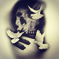 A better look. Fresh Photoshop manipulation. #blackandgray #tattoo #photoshop #sketches #prints #tattooideas #skulls #doves #piano #keyboard