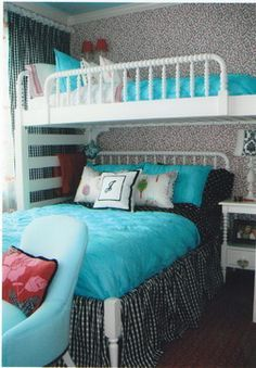 teen girl room ideas teal bunk beds - Google Search