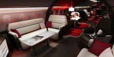 quantum-play.com loves Red Luxury Private Jet Interior