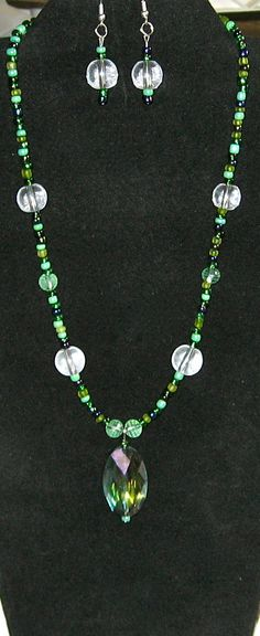 Oval Faceted Green Blue Pendant Necklace and by LadyLisaDesigns, $15.00