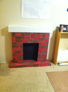 Fireplace made from cardboard boxes Diy Christmas Fireplace, Dark Christmas, Merry Christmas To All, Diy Fireplace, Christmas Sewing, Diy Christmas Gifts, Christmas Decorations, Christmas Ideas, Playhouse Furniture