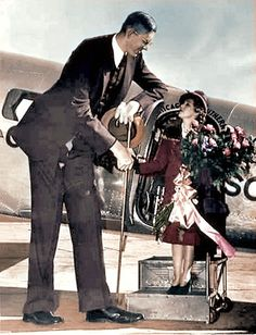 """Mary Pickford Meets Robert Wadlow, the tallest recorded person in history, who reached 8'11.1"""" in height"""