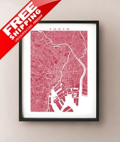 Tokyo Map Print  Japan Poster Art by CartoCreative on Etsy, $20.00