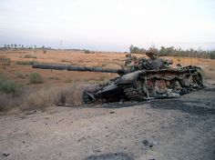Destroyed Iraqi T-72 tank