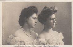 A gauche : princesse Sophie von Schönburg-Waldenburg (1885-1936), épouse du prince Wilhelm de Wied,  A droite : princesse Anna de Sayn-Wittgenstein-Berleburg (1884-1963), mariée au comte Guido Henckel von Donnersmarck (1888-1959).