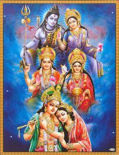 Lord Shiva with Parvati, Lord Vishnu with Lakshmiji, Lord Krishna with Radhaji