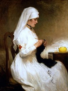 Gabriel Emile Edouard Nicolet Swiss, 1856-1921 Portrait of a Nurse from the Red Cross