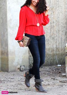 Red + leopard: Parker top I Mother Denim I J Shoes #pinksaloon