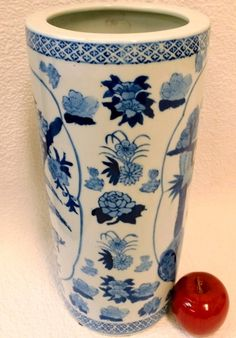 Birds on Blue and White Porcelain Umbrella Stand 15""