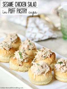 Add delicious sesame chicken salad in puff pastry cups to your next ladies luncheon menu. They're easy to make and eat, and look adorable. Finger Food Appetizers, Appetizers For Party, Appetizer Recipes, Party Snacks, Party Party, Party Time, Dinner Recipes, Best Chicken Salad Recipe, Chicken Salads