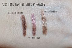 Kiko Long Lasting Stick Eyeshadows Review & Swatches (04 Golden Chocolate, 05 Rosy Brown & 06 Golden Brown) Kiko Milano, Makeup Swatches, Golden Brown, Eyeliner, Hair Makeup, Make Up, Chocolate, Eyeshadows, Dupes