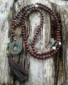 Jasper Mala Necklace decorated with a Buddha pendant