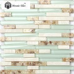 TST Glass Conch Beach style Mother Of Pearl Shell Resin Aqua White Stone Marble Tile Kitchen Backsplash Deco Bathroom Wall Art