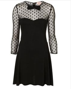 Black Sheer Polka Dot Dress