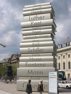 As part of the 2006 FIFA World Cup football event in Germany, a set of six huge steel book sculptures were displayed in central Berlin. Designed by Scholz & Friends, the 12.2 meter high exhibition was called Modern Book Printing.