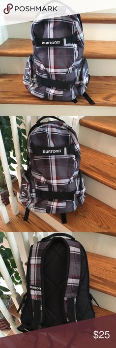 NWOT. Burton Backpack New.  Made by Burton.  This backpack is designed for snowboarding but I find it's plaid design to go with anything.  It's youthful, hip, fun and classy all at the same time.   Use it as a hiking bag, hit the slopes with it or even as a cool diaper bag.  Side zip pockets add to the storage. Burton Bags Backpacks
