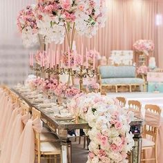A Marie Antoinette inspiration #tablescape with lush pastel floral and gold intage candelabras.