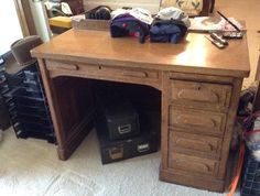 Found on EstateSales.NET: TWO sided antique desk ...