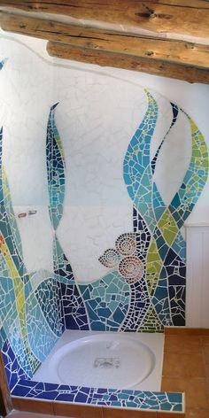 Mosaic shower #walls #mosaic #mosaicwall #mosaicwallart