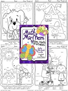 """Math """"May""""hem: May Math Printables ~ Color By The Code Puzzles To Practice Addition and Subtraction Facts. ~This Unit Is Aligned To The CCSS. Each Page Has The Specific CCSS Listed.~ This set includes 8 math puzzles....Spring, Mother's Day, Cinco de Mayo! Set also includes 8 answer keys for the 8 puzzles. $"""