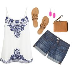 Embroidered top, Kendra scott earrings with Tory Burch sandals & wristlet