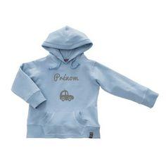 cab72e7ff9b Sweat à capuche bleu clair Baptiste personnalisable (2 à 12 ans)