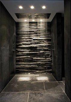 Rain shower covered with coarse black slate stone