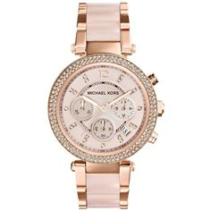 Michael Kors Women's MK5896 'Parker' Rose Goldtone Chronograph Watch ($213) ❤ liked on Polyvore featuring jewelry, watches, gold, bezel watches, rose gold tone watches, michael kors watches, white dial watches and stainless steel jewelry