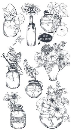 Hand drawn flowers and bouquets drawn Hand drawn flowers and bouquets drawn Flower Drawing Tutorials, Flower Sketches, Drawing Sketches, Art Drawings, Tattoo Sketches, Sketching, Drawing Faces, Painting Tutorials, Tattoo Drawings