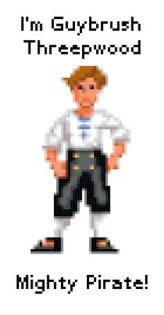 Monkey Island Guybrush Threepwood cross stitch by QuirkyStitcher, £2.50