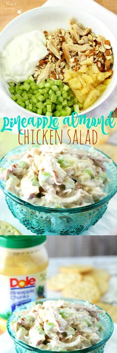 Only 3 steps to this delicious, tangy, lightly sweet Pineapple Almond Chicken Sa. - Only 3 steps to this delicious, tangy, lightly sweet Pineapple Almond Chicken Salad- not your stand - I Love Food, Good Food, Yummy Food, Tasty, Yummy Yummy, Pineapple Recipes, Pineapple Salad, Chicken Salad With Pineapple, Greek Yogurt Chicken Salad