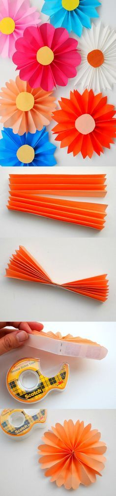 How to Make Paper Flowers - the Easiest Way! - DIY Candy : These accordion paper flowers are so easy to make that even a child can do it - pick bright, bold origami patterns to make them really stand out! How To Make Paper Flowers, Giant Paper Flowers, Diy Flowers, Origami Flowers, Tissue Paper Flowers Easy, Wedding Flowers, Orange Flowers, Diy Wedding, Kids Crafts